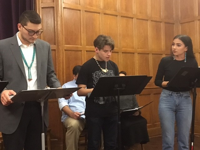 Reed Adair Bobroff, Cole Richards, and Kinsale Hueston perform in the reading of last year's award-winning play, Bingo Hall by Dillon Chitto (Mississippi Choctaw, Laguna Pueblo, Isleta Pueblo).