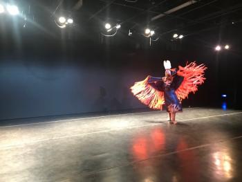 Charlize Arcoren (Sicangu Lakota), dancing at the 3rd Annual Yale Young Native Storyteller Festival