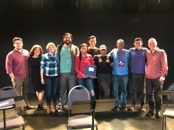 Playwright Reed Adair Bobroff (Navajo Nation), Mary Kathryn Nagle, Cortlandt Sellers, Jake Hart, Nathalie Standingcloud, Wolf Sellers, Olivia Komahcheet, Justin Gauthier, Joshua Zoeller, and Director/Dramaturg Jocelyn Clarke celebrate following a successful reading of A Fraction of Love.