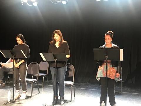 Kinsale Hueston, Allison Hicks, and Sarah D'Angelo perform in Tara Moses' He'eo'o.