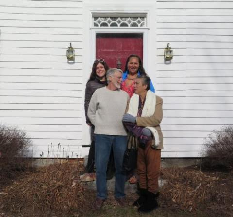 YIPAP Executive Director joins Kauanoe Hoomanawanui and Deborah Lee (descendants of former FMS student Henry Ōpūkaha'ia) at the home of Ben Silliman Gray, current owner of the Foreign Mission School Steward's former home in Cornwall, Connecticut